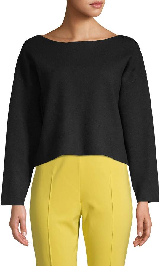 Zero Degrees Celsius Back Bow & Cutout Cropped Sweater