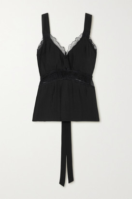 SLEEPING WITH JACQUES The Osiris Lace-trimmed Plisse-silk Crepe De Chine Camisole - Black