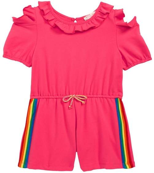 Truly Me Rainbow Tape Romper (Toddler Girls & Little Girls)