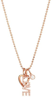 Ef Collection Diamond & 14K Rose Gold Love Charm Pendant Necklace