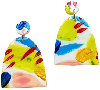 Abstract Hand Painted Lightweight Clay Earrings - Arch