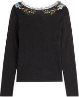 Alberta Ferretti Wool Pullover with Embroidery and Lace Collar