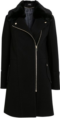 Wallis Black Faux Fur Collar Zip Biker Coat