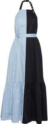 Tibi Two-tone Coated Cotton-poplin Halterneck Midi Dress
