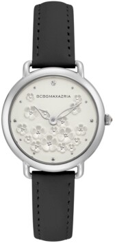 BCBGMAXAZRIA Ladies Black Leather Strap with Floral Dial and Silver Case, 34mm