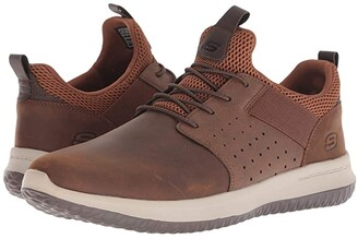 Skechers Delson - Axton (Dark Brown) Men's Lace up casual Shoes