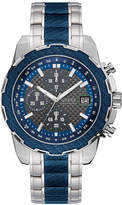 GUESS Men's Chronograph Stainless Steel and Blue Carbon Fiber Bracelet Watch 46mm