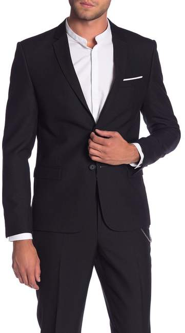 The Kooples Black Solid Two Button Notch Lapel Jacket