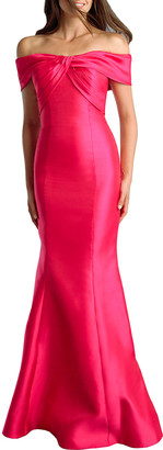 Basix II Off-the-Shoulder Twist-Neck Sateen Mermaid Gown