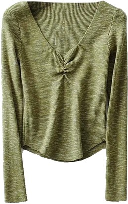 Goodnight Macaroon 'Patricia' Ribbed V-Neck Basic Top (4 Colors)