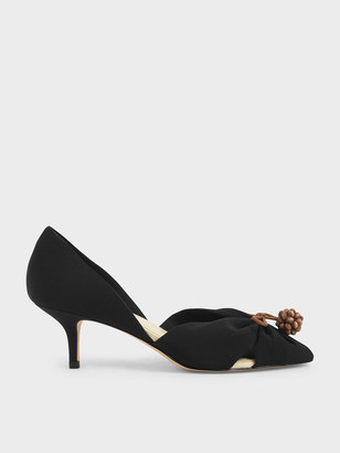 Charles & Keith Cherry Embellished Peep-Toe D'Orsay Pumps