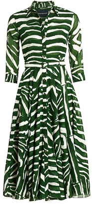 Samantha Sung Aster Zebra-Stripe Belted Cotton Shirtdress