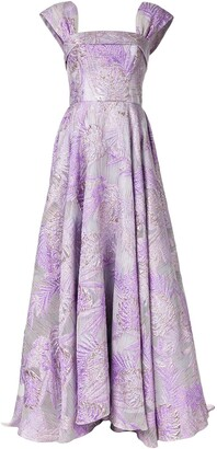 Bambah Square Neck Floral Pattern Gown
