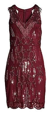 Aidan Mattox Women's Sleeveless Beaded Fringe Cocktail Dress
