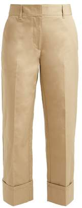 Prada Turn Up Cuff Cotton Trousers - Womens - Beige