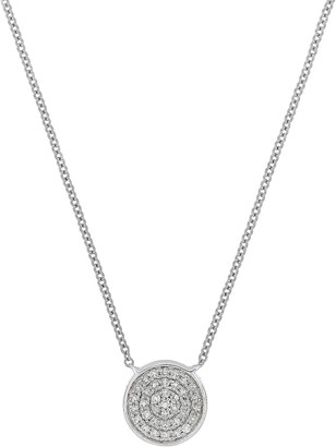 Carriere Sterling Silver Pave Diamond Disc Pendant Necklace - 0.16 ctw