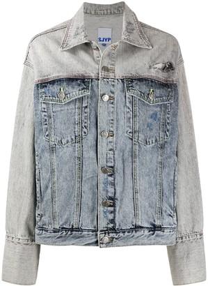 Sjyp Two-Tone Distressed Denim Jacket