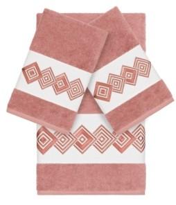 Linum Home Turkish Cotton Noah 3-Pc. Embellished Towel Set Bedding