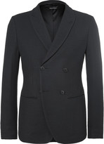 Giorgio Armani Blue Ginza Slim-Fit Double-Breasted Hopsack Blazer