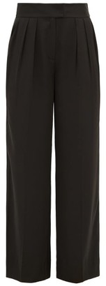 Rebecca Taylor Wide-leg Satin Trousers - Black