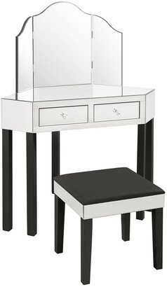 INSPIRED HOME Callista Mirrored 3-Piece Vanity Set