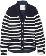 Sacai Striped Cotton And Poplin Cardigan - Navy
