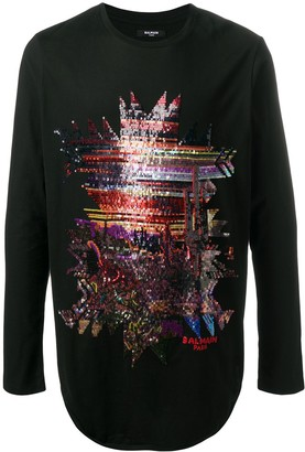 Balmain Sequin Abstract Motif Cotton Long Sleeve T-Shirt