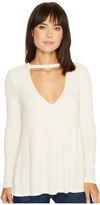 Culture Phit Steffany Waffle Knit Keyhole Top Women's Clothing