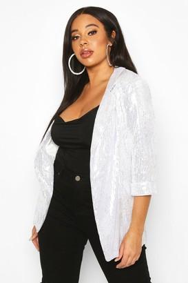 boohoo Plus Sequin Velvet Oversized Blazer