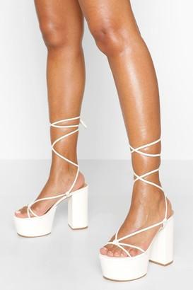 boohoo Chunky Strappy Platform Heels