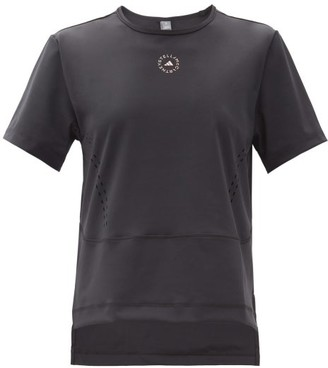 adidas by Stella McCartney Truestar Logo-print Perforated T-shirt - Black