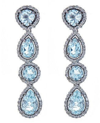 Forever Creations Usa Inc. Forever Creations Silver 13.15 Ct. Tw. Diamond & Aquamarine Drop Earrings
