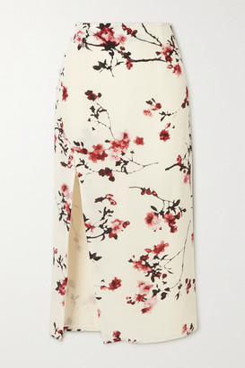 Altuzarra Edmund Button-embellished Floral-print Silk Midi Skirt - Ivory