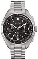 Bulova Men's Designer Chronograph Watch Stainless Steel Bracelet - Black Dial Lunar Pilot Wrist Watch 96B258