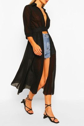 boohoo Woven Dobby Button Through Maxi Shirt