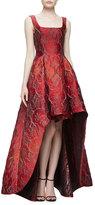 Alberta Ferretti Sleeveless Square-Neck High-Low Jacquard Gown, Fantasy Red