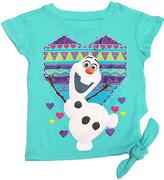 Freeze Frozen Olaf Mint Geo-Heart Side-Tie Tee - Kids