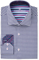 Michelsons of London Men's Slim-Fit Navy Textured Gingham Dress Shirt