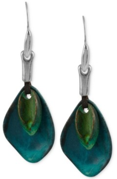Robert Lee Morris Soho Silver-Tone Layered Sculptural Patina Drop Earrings