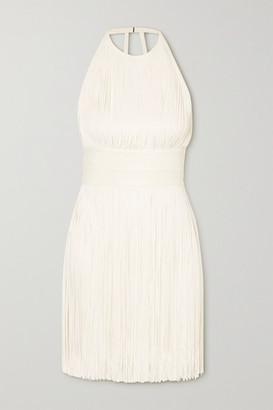 Herve Leger Open-back Fringed Bandage Halterneck Mini Dress - White