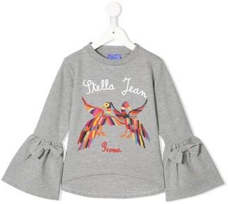 Stella Jean Kids embroidered bird bell sleeve T-shirt