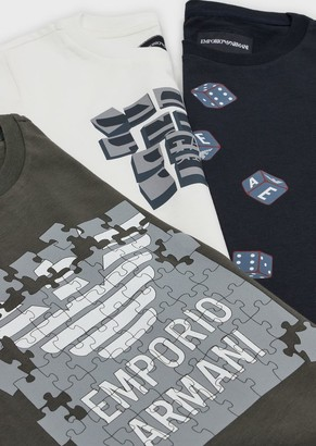 Emporio Armani Pack Of 3 Games Print T-Shirts