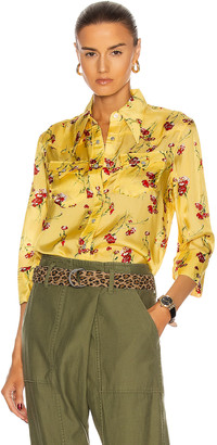 R 13 Exaggerated Collar Cowboy Shirt in Yellow Floral | FWRD