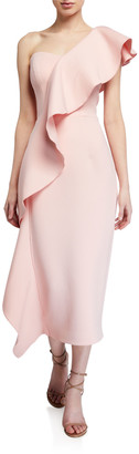 Jovani Asymmetric Ruffle Scuba Midi Dress