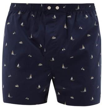 Derek Rose Nelson 73 Cotton Boxer Shorts - Mens - Navy