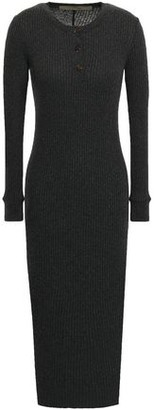 Enza Costa Ribbed Cotton And Cashmere-blend Midi Dress