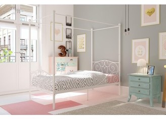 DHP Canopy Metal Bed, Twin Size Frame, White