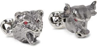 Deakin & Francis Bull & Bear Sterling Silver Ruby Cufflinks