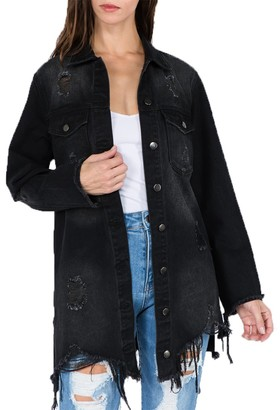 Steve Madden Washed Denim Shirt Black