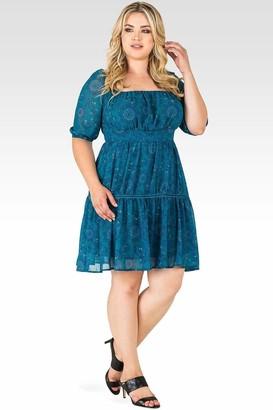 Standards & Practices Katrina Blue Paisley Peasant Velvet Trim Dress Size 1X